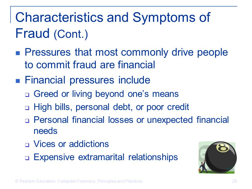 Characteristics and Symptoms of Fraud (Cont.)