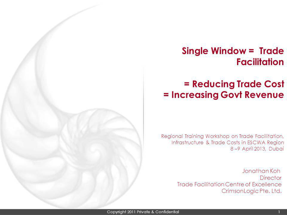 Single Window = Trade Facilitation = Reducing Trade Cost = Increasing Govt Revenue Regional Training Workshop on Trade Facilitation, Infrastructure & Trade Costs in ESCWA Region 8 –9 April 2013, Dubai