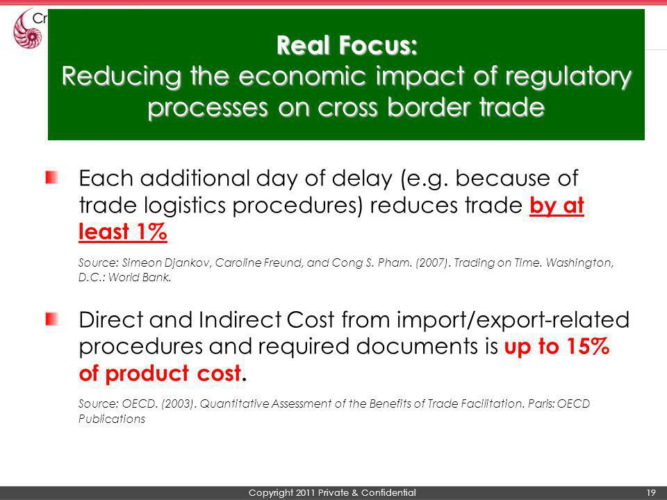 Real Focus: Reducing the economic impact of regulatory processes on cross border trade