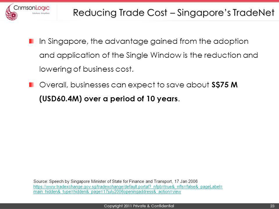 Reducing Trade Cost – Singapore's TradeNet