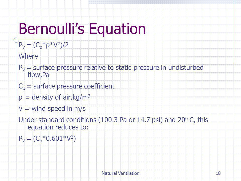 Bernoulli's Equation PV = (Cp*ρ*V2)/2 Where