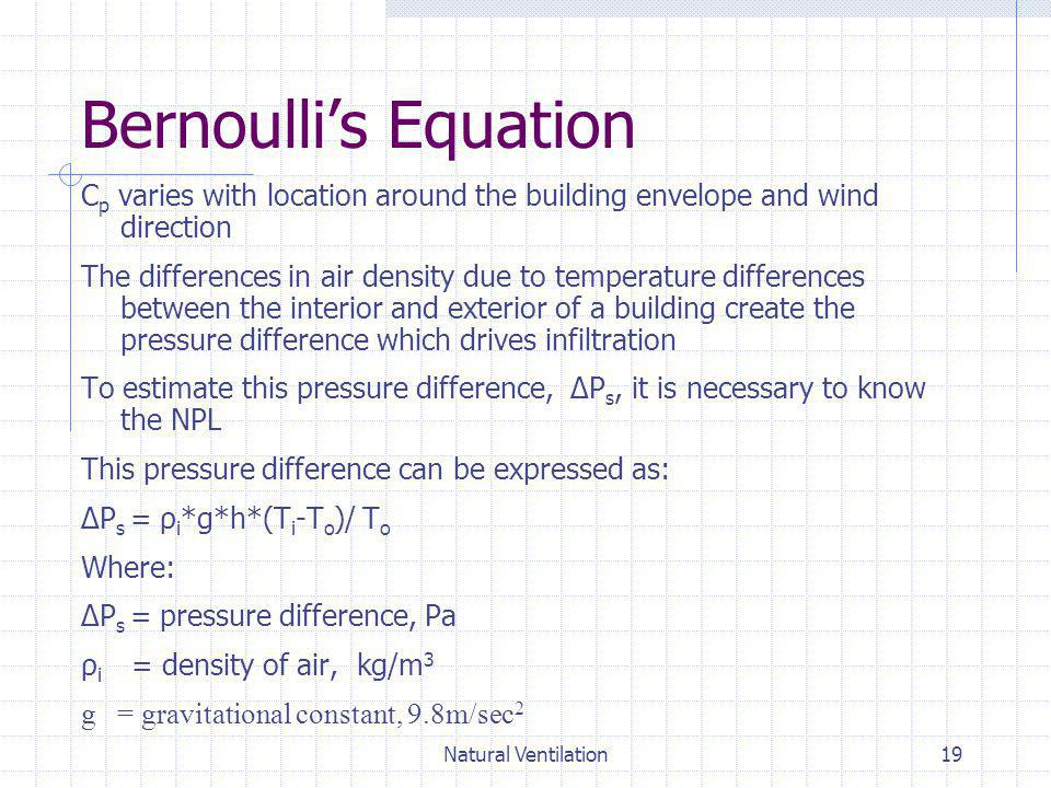Bernoulli's Equation Cp varies with location around the building envelope and wind direction.