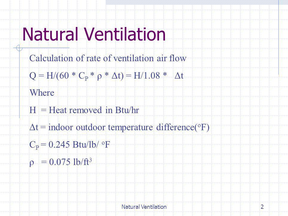 Natural Ventilation Calculation of rate of ventilation air flow