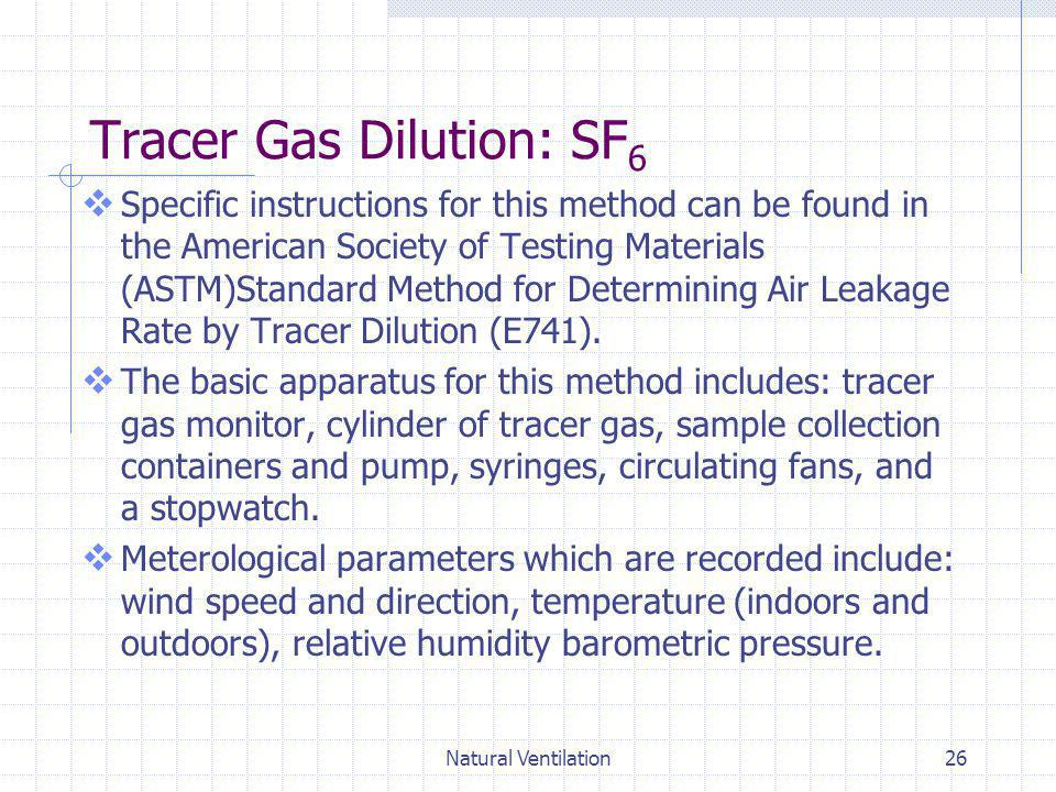 Tracer Gas Dilution: SF6