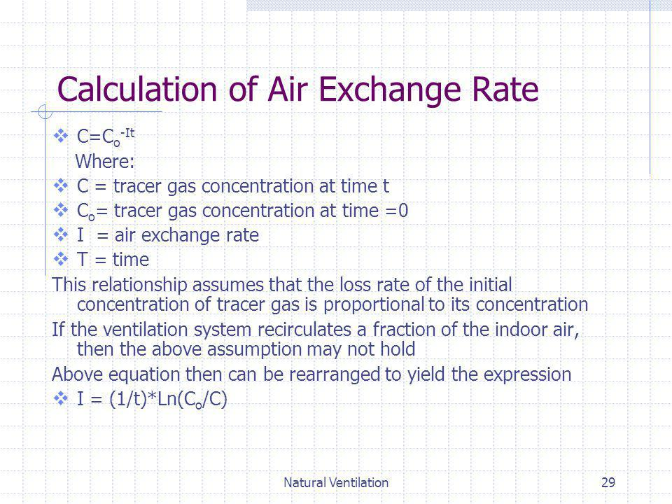 Calculation of Air Exchange Rate