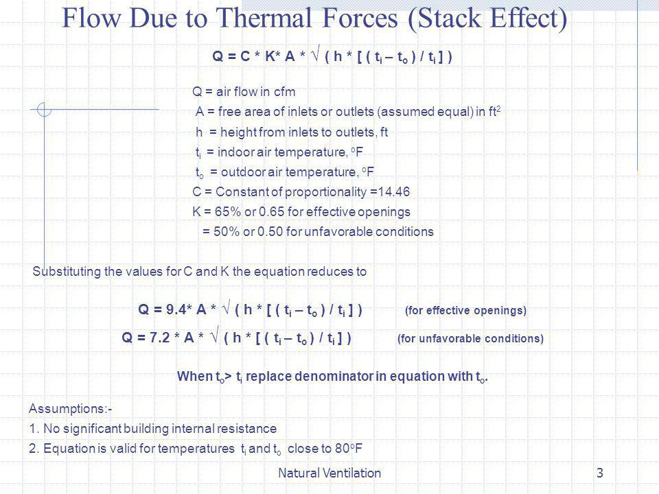 Flow Due to Thermal Forces (Stack Effect)