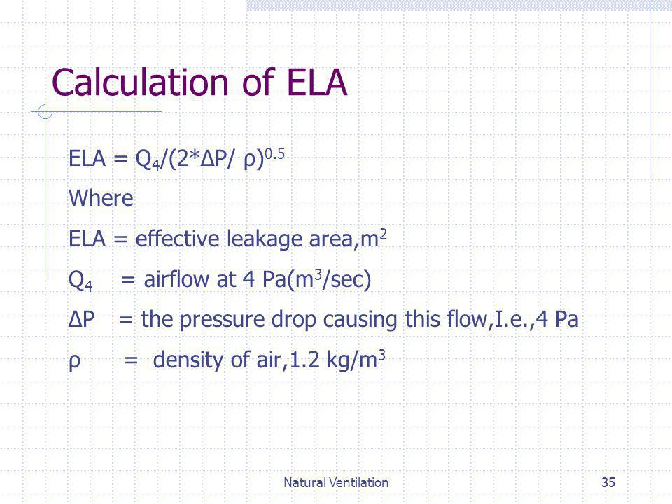 Calculation of ELA ELA = Q4/(2*ΔP/ ρ)0.5 Where