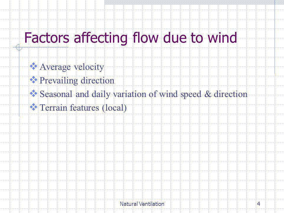 Factors affecting flow due to wind