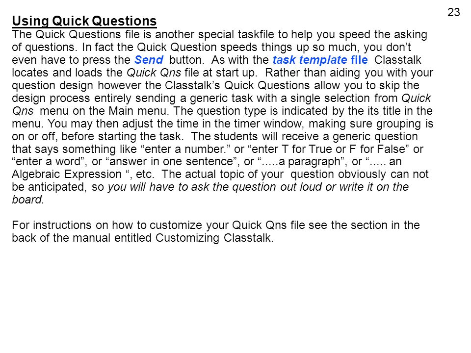 Using Quick Questions