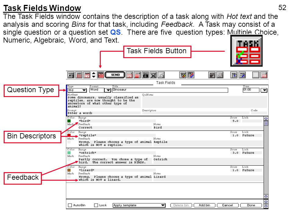 Task Fields Window