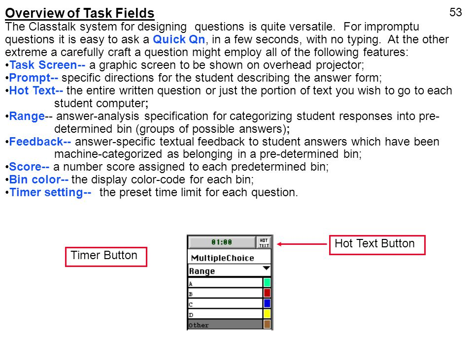 Overview of Task Fields