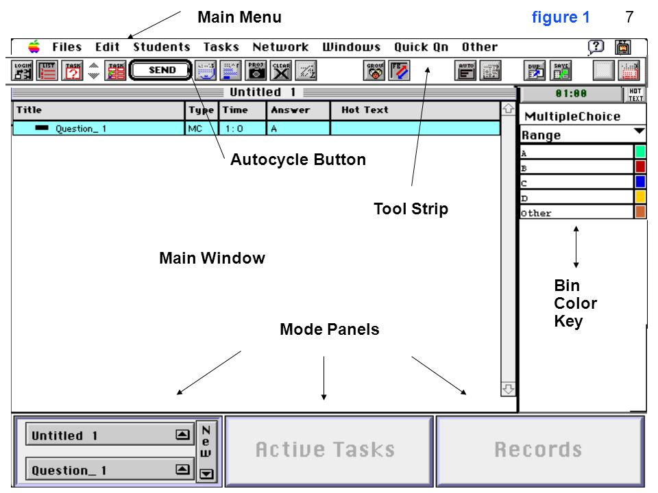 figure 1 Main Window Autocycle Button Main Menu Tool Strip Mode Panels