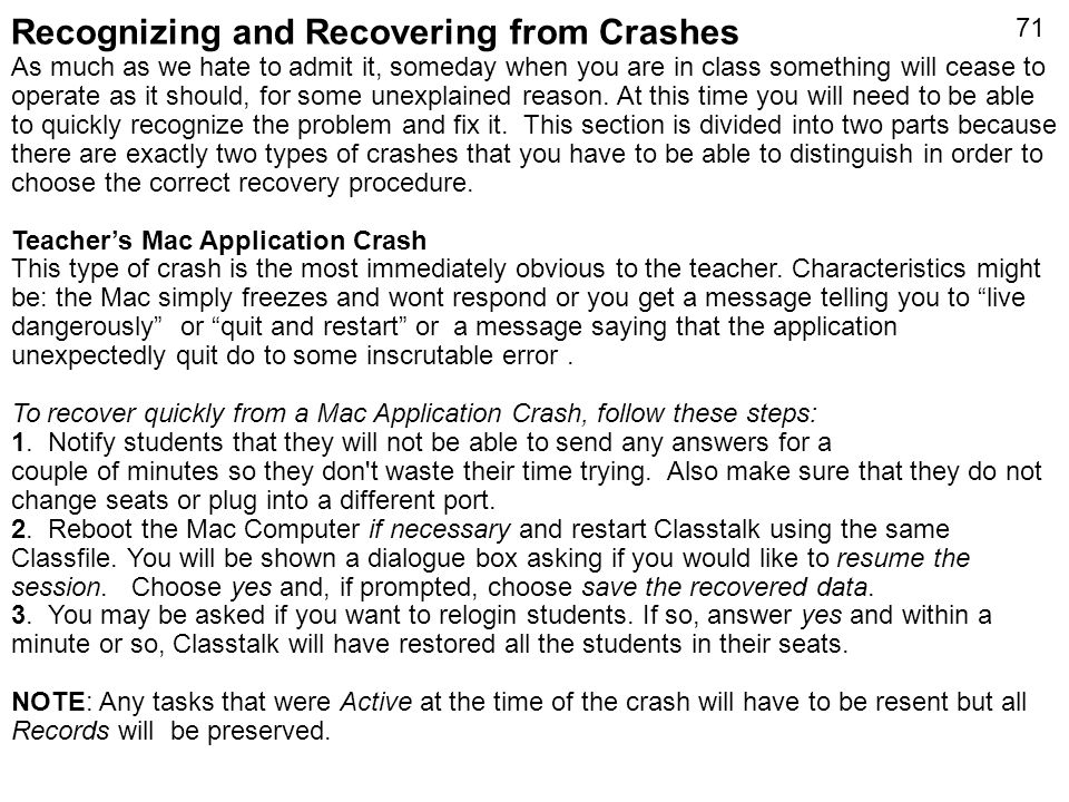 Recognizing and Recovering from Crashes