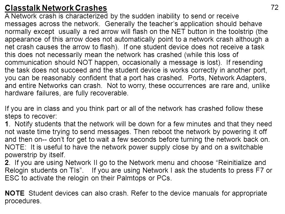 Classtalk Network Crashes