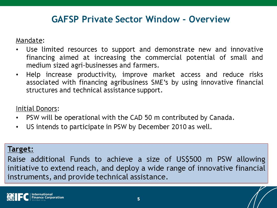 GAFSP Private Sector Window - Overview