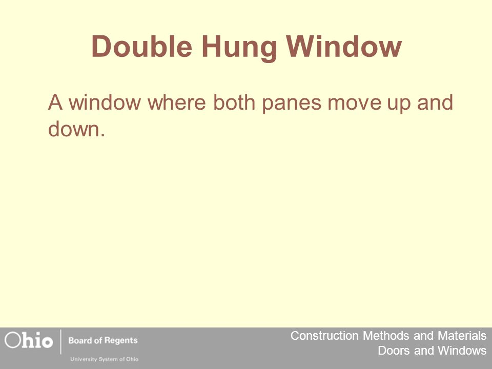 Double Hung Window A window where both panes move up and down.