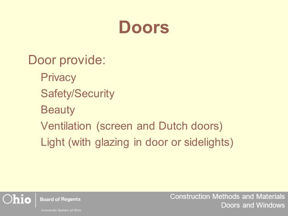 Doors Door provide: Privacy Safety/Security Beauty