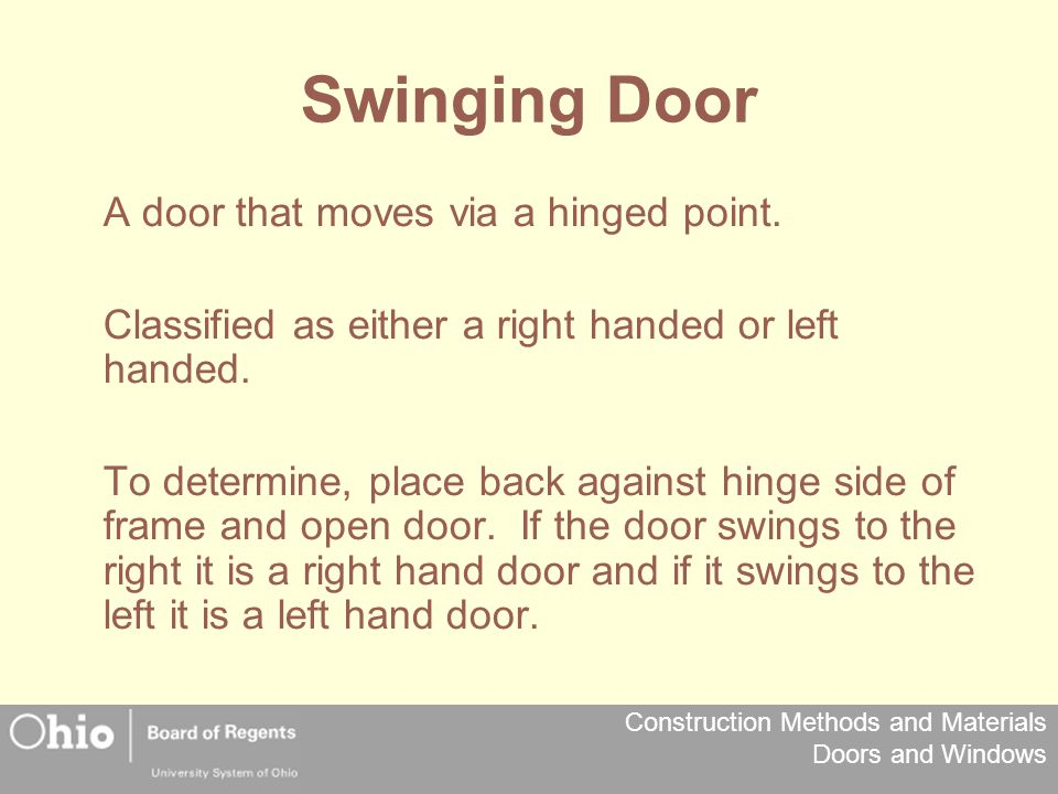 Swinging Door A door that moves via a hinged point.