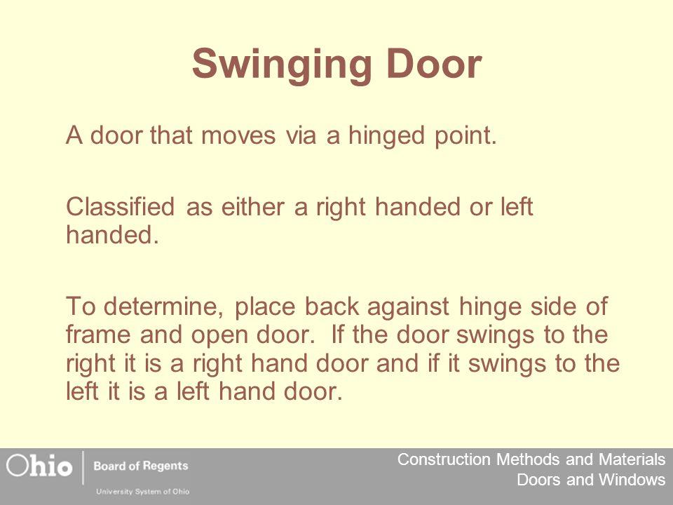 Swinging Door A door that moves via a hinged point.
