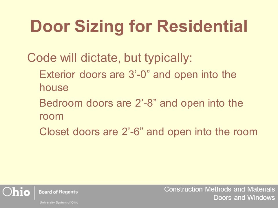 Door Sizing for Residential
