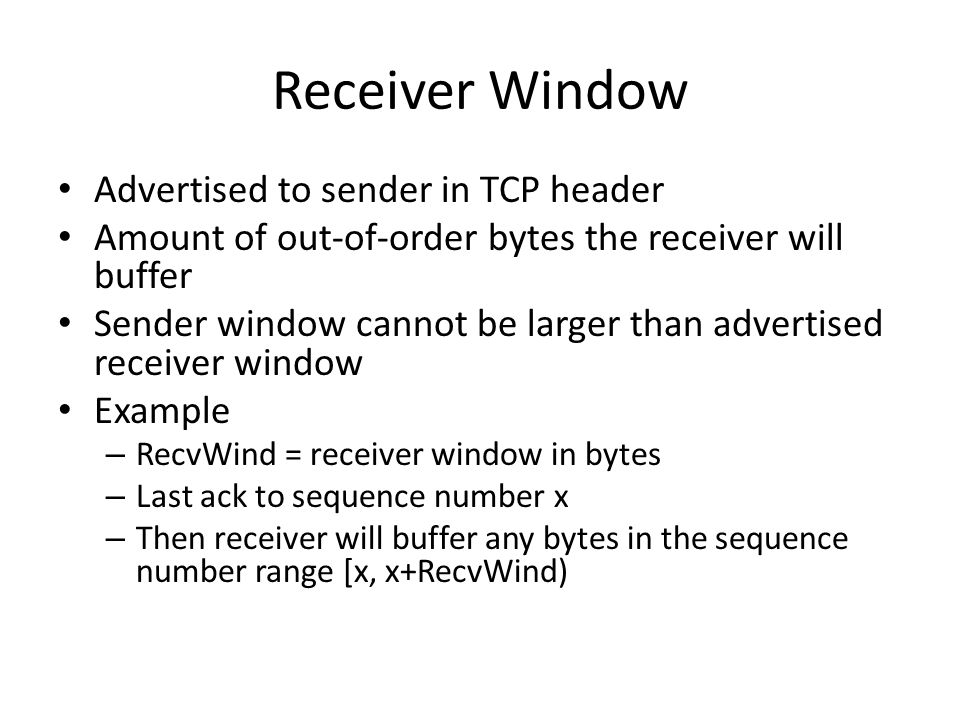 Receiver Window Advertised to sender in TCP header
