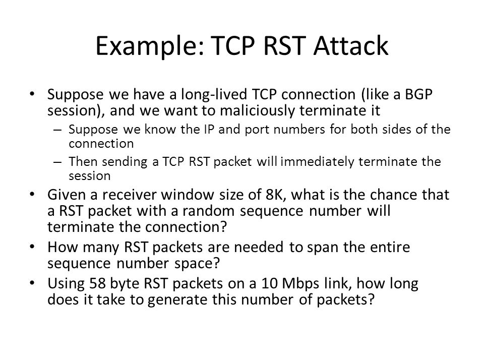 Example: TCP RST Attack