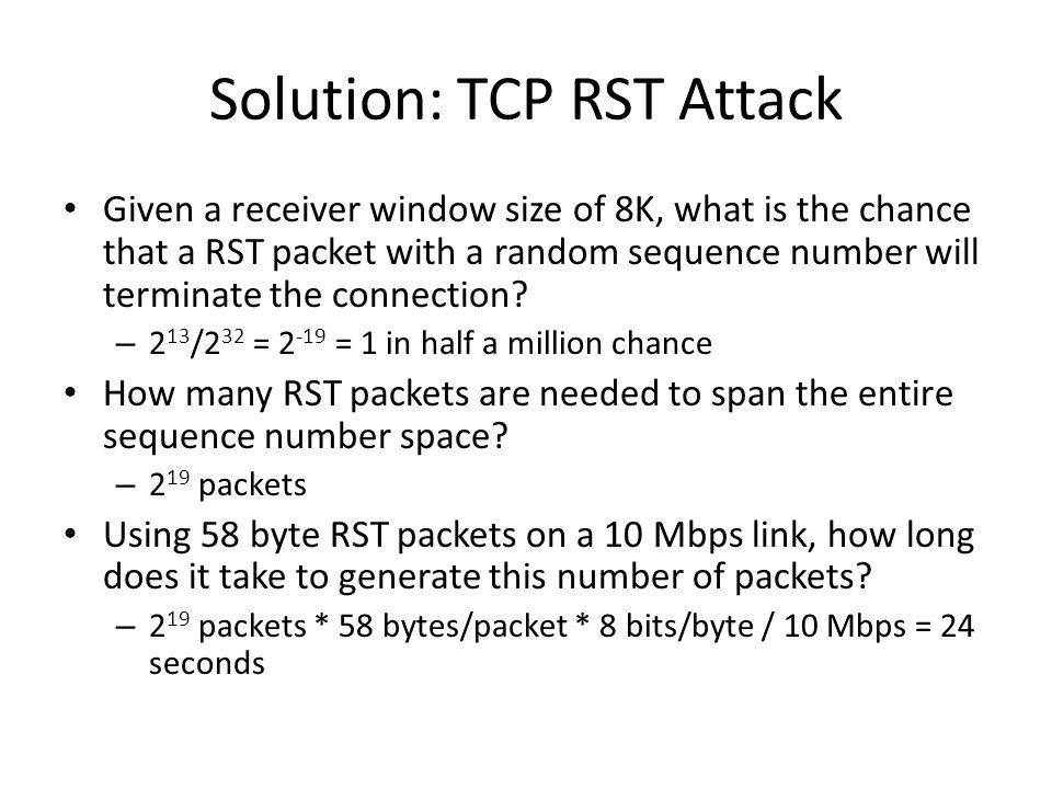 Solution: TCP RST Attack