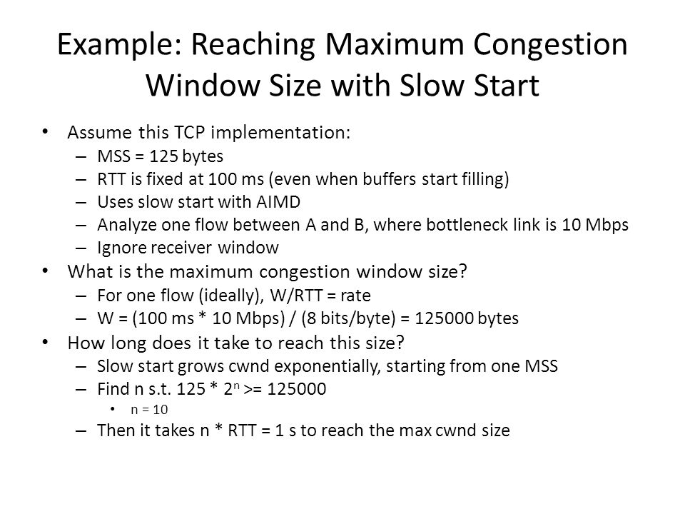 Example: Reaching Maximum Congestion Window Size with Slow Start