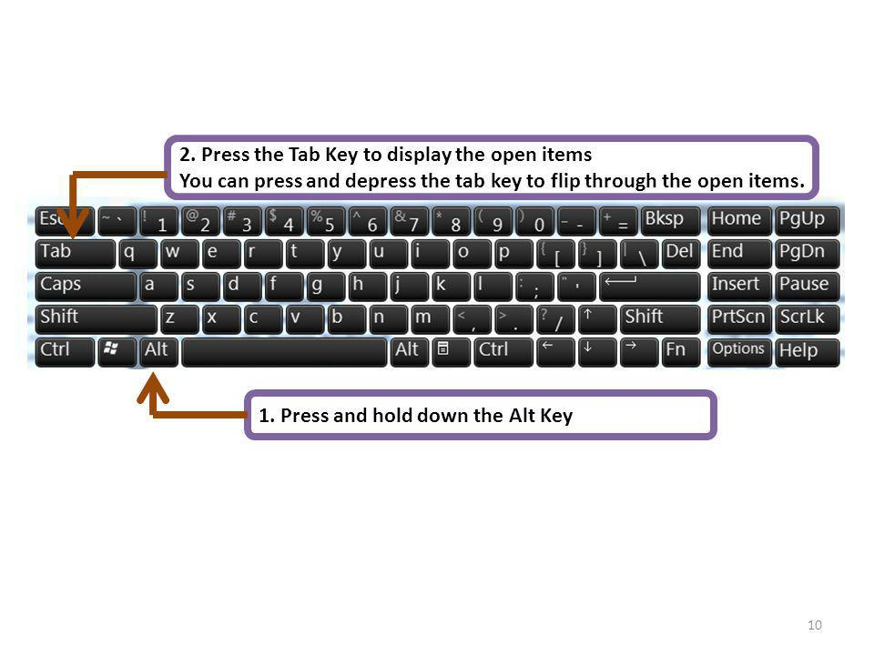 2. Press the Tab Key to display the open items