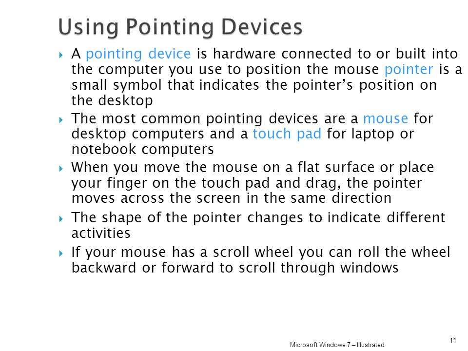 Using Pointing Devices