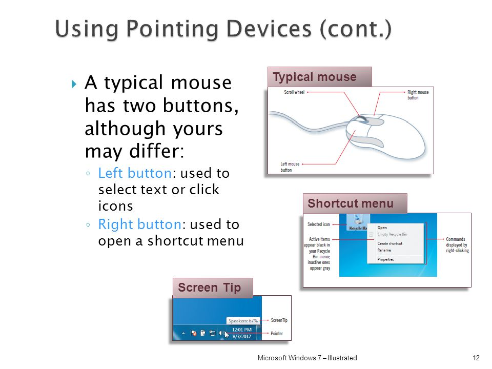 Using Pointing Devices (cont.)