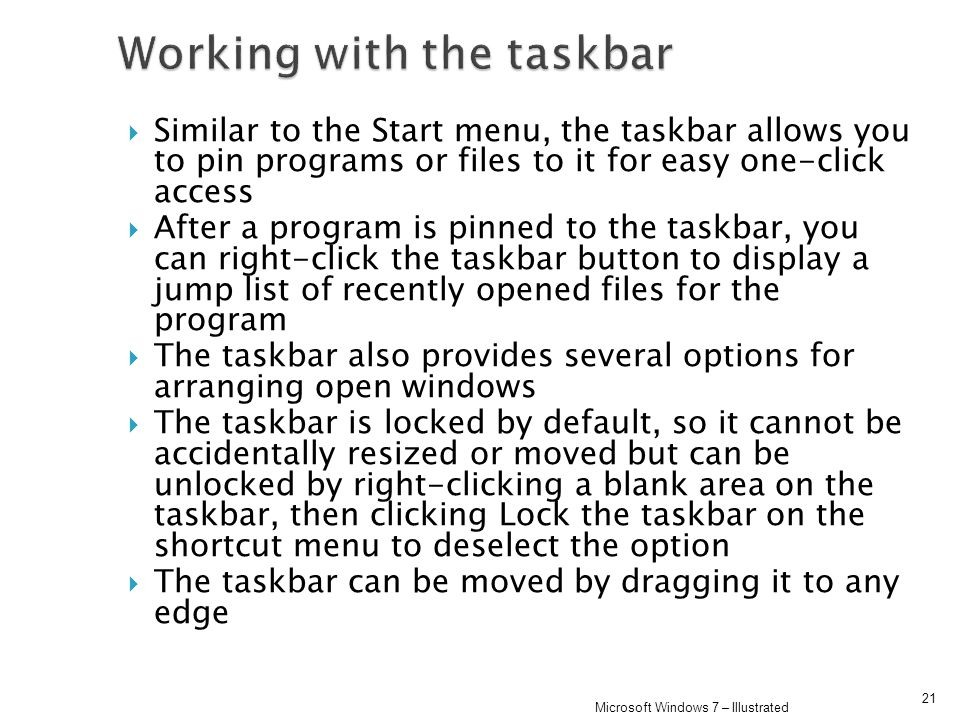 Working with the taskbar