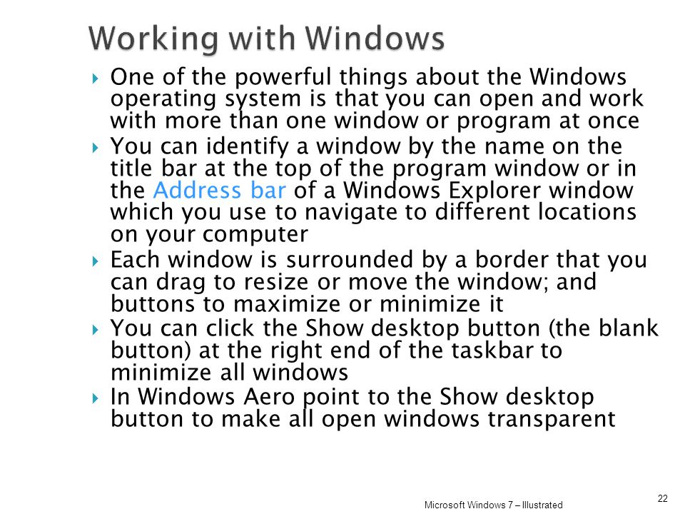 Working with Windows