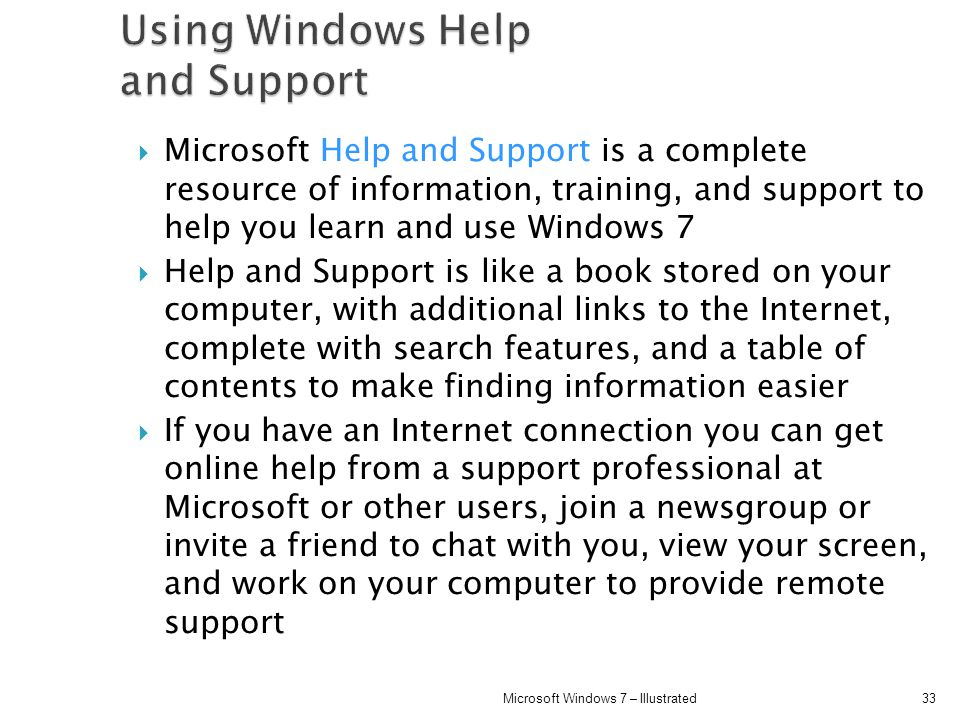 Using Windows Help and Support