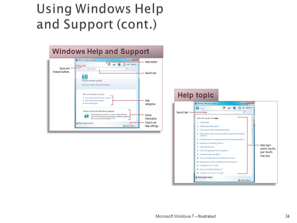 Using Windows Help and Support (cont.)
