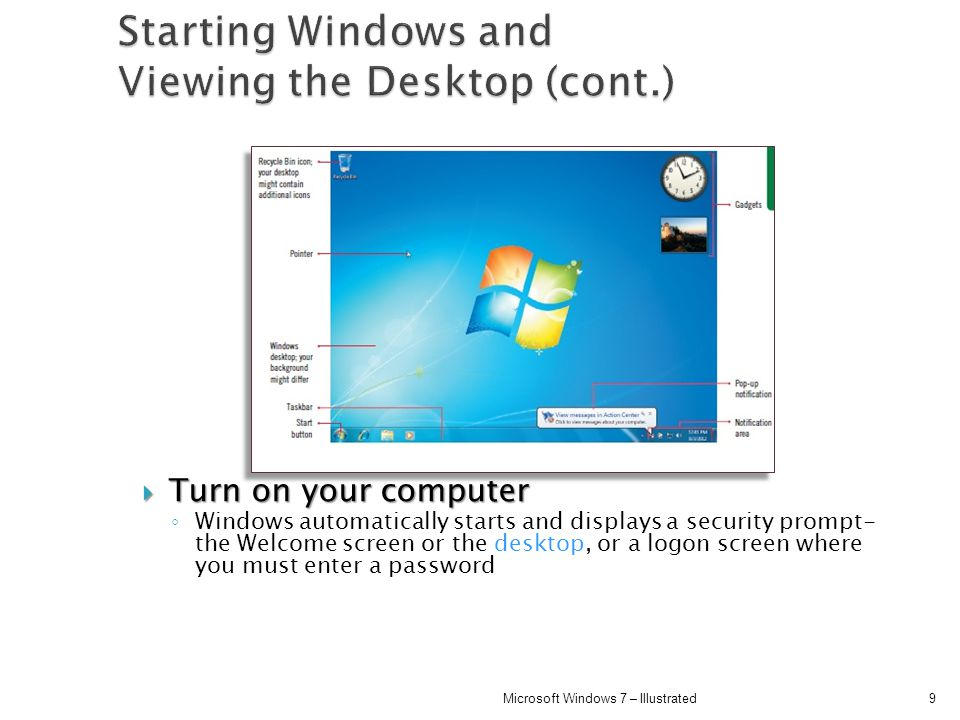 Starting Windows and Viewing the Desktop (cont.)