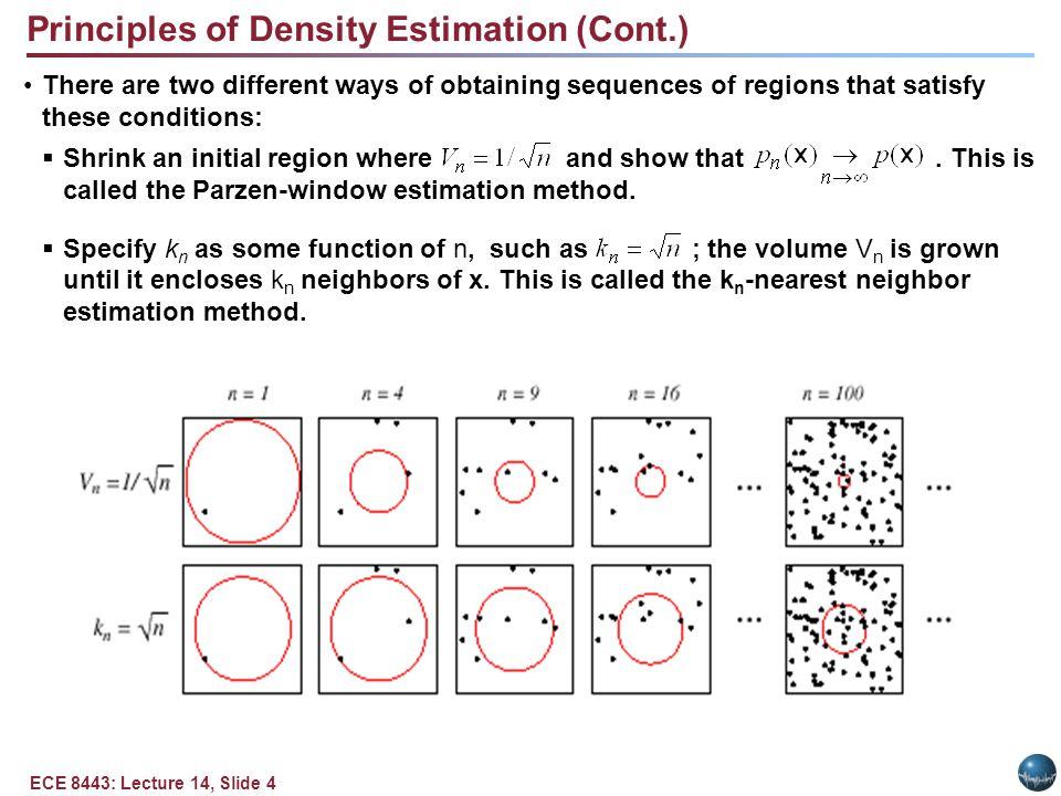 Parzen Windows Parzen-window approach to estimate densities assume that the region Rn is a d-dimensional hypercube: