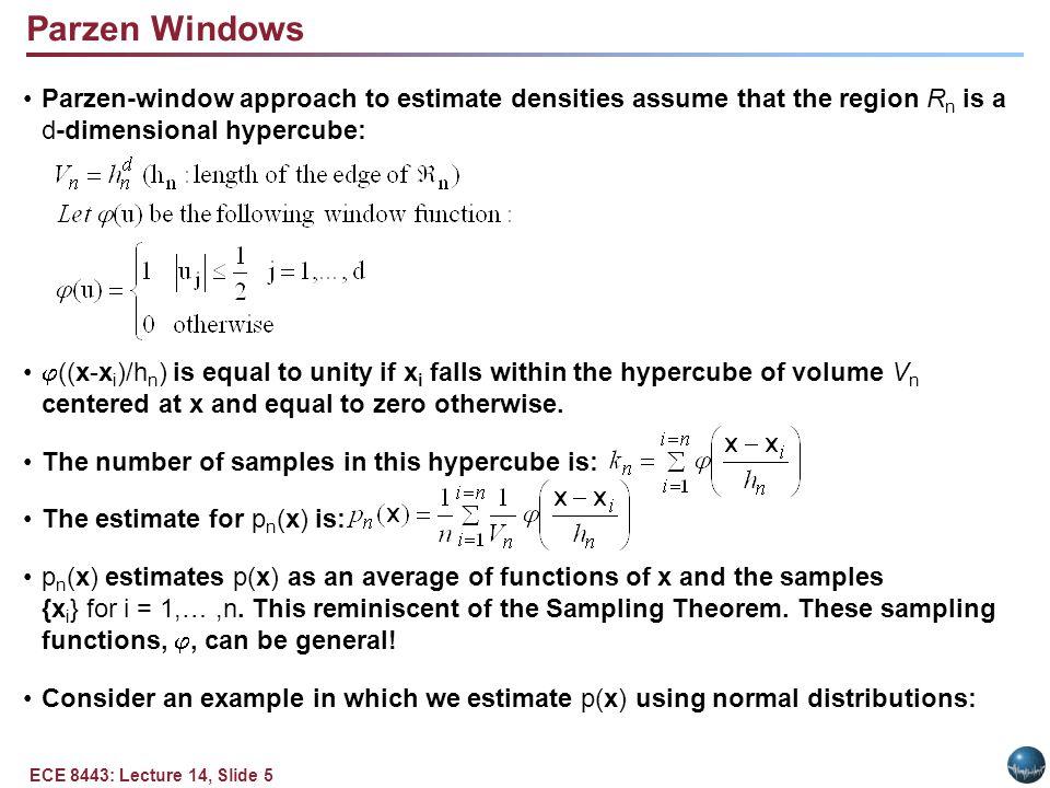 Example of a Parzen Window (Gaussian Kernels)