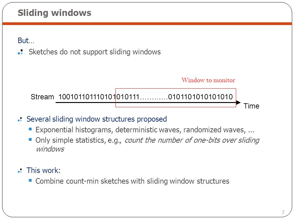 Sliding windows But… Sketches do not support sliding windows
