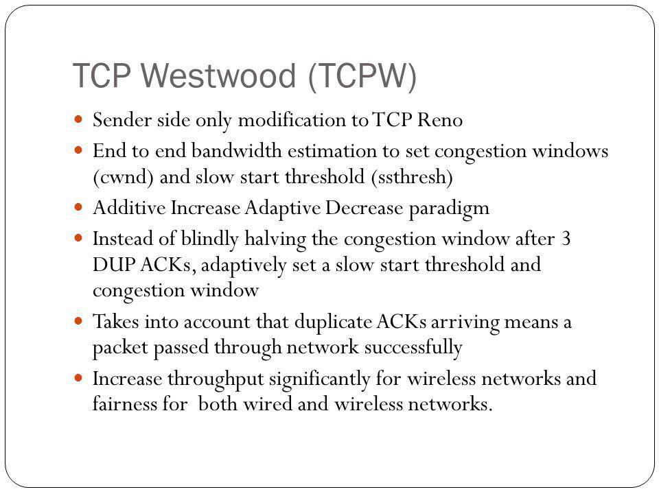 TCP Westwood (TCPW) Sender side only modification to TCP Reno