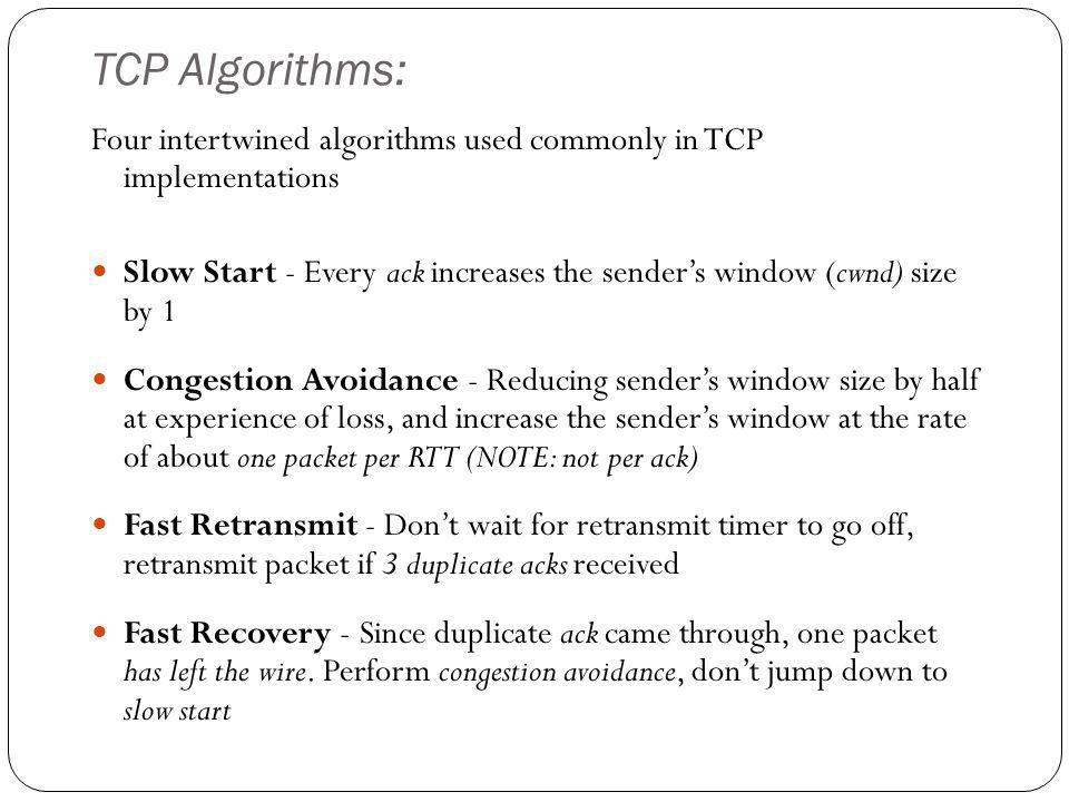 TCP Algorithms: Four intertwined algorithms used commonly in TCP implementations.