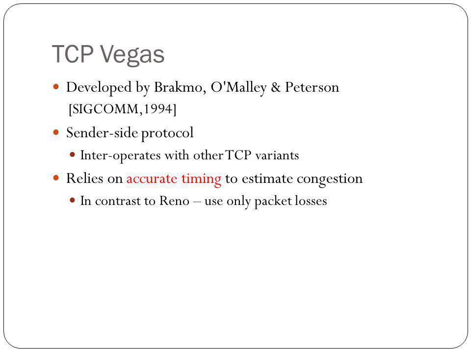 TCP Vegas Developed by Brakmo, O Malley & Peterson