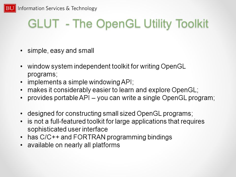 GLUT - The OpenGL Utility Toolkit