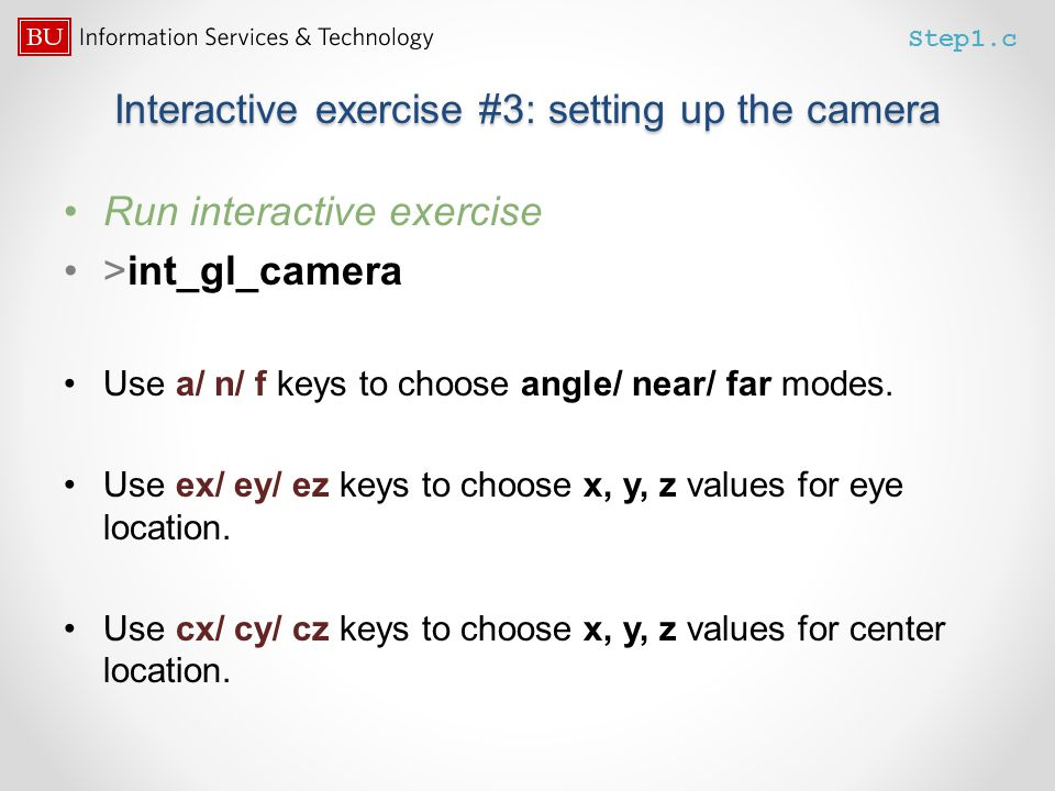 Interactive exercise #3: setting up the camera