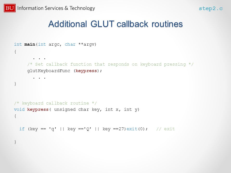 Additional GLUT callback routines