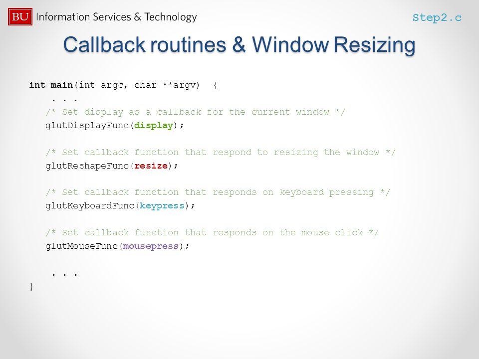 Callback routines & Window Resizing