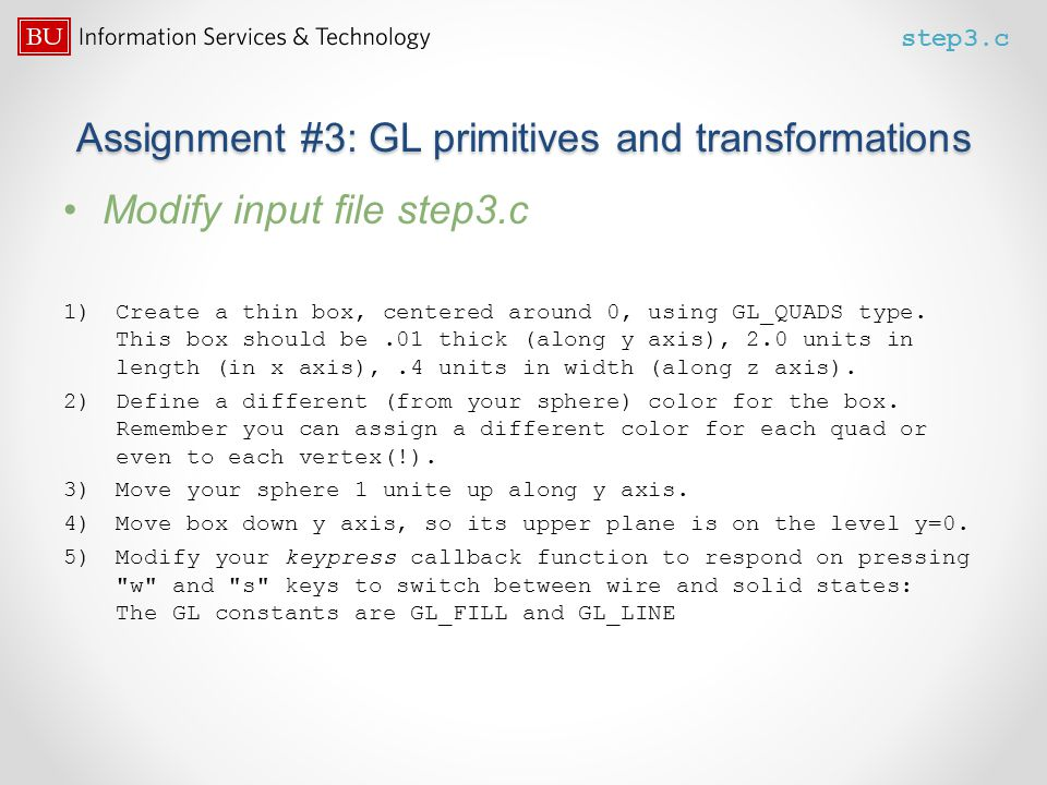 Assignment #3: GL primitives and transformations