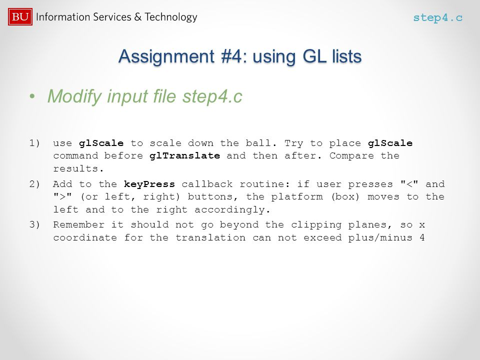 Assignment #4: using GL lists