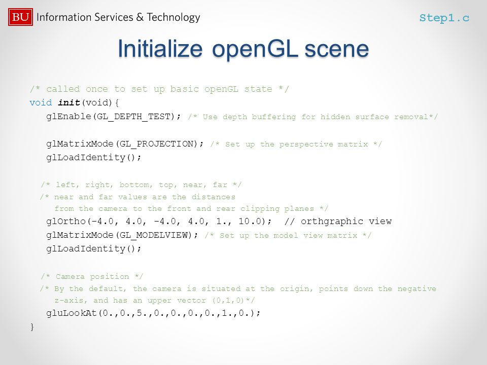 Initialize openGL scene