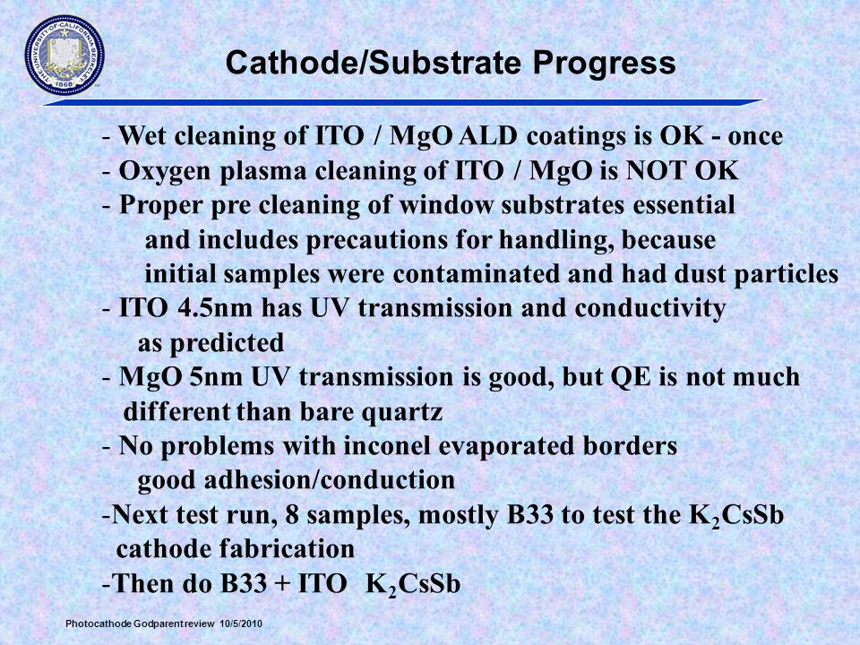 Cathode/Substrate Progress